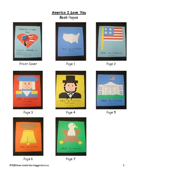 America I Love You Theme Book for Students to Make
