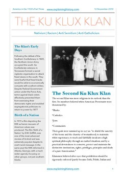 America In The 1920s Part Three: The Ku Klux Klan