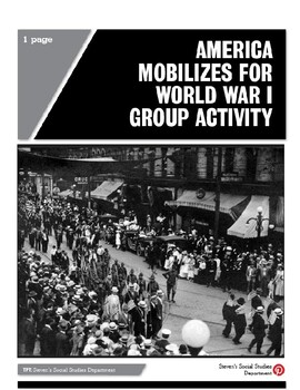 America Mobilizes for World War I Group Activity