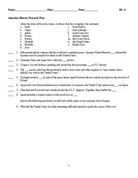 America Moves Toward War - (Quiz or Study Guide)