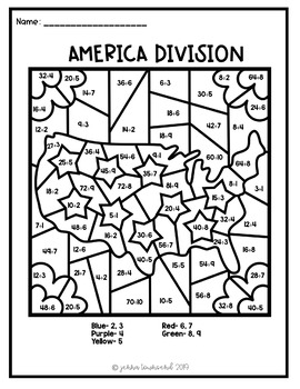 America Multiplication and Division Color By Number