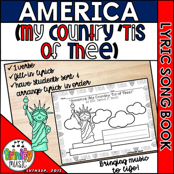 America (My Country 'Tis of Thee) Picture Song Book - One Verse