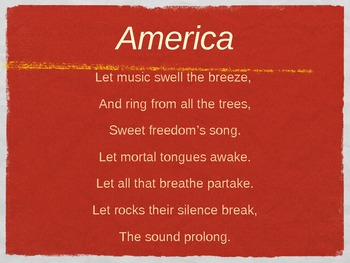 America - My Country 'Tis of Thee - PowerPoint