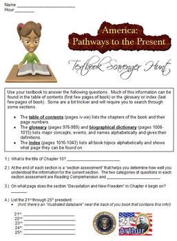 America: Pathways to the Present Textbook Scavenger Hunt