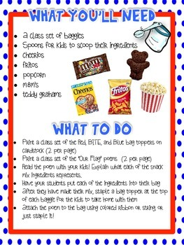 America Patriotic Snack Mix -  Red, BITE, and Blue {Fun Poem} and {Bag Toppers}