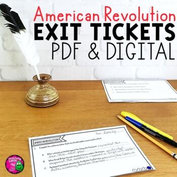 America Revolution & Revolutionary War Exit Tickets Set