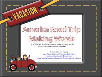 america road trip making words by karen sanborn hyers teacher in the
