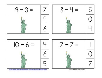 America Rocks! Subtraction Math Centers (Minuends to 10)