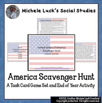 America Scavenger Hunt Task Card Game! Great end of year activity or fun review!