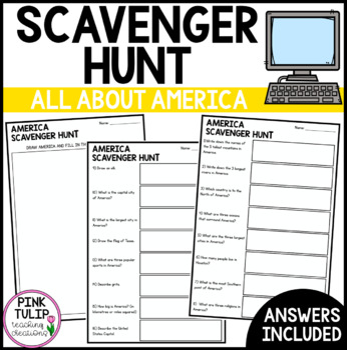 America Scavenger Hunt - Research Based