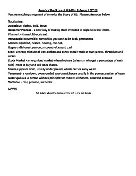 America Story of US Cities Notetaking Sheet Blank for Student Use
