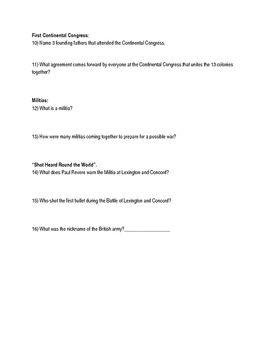 """America Story of US. Part 1: """"Rebels"""" Guided Questions"""