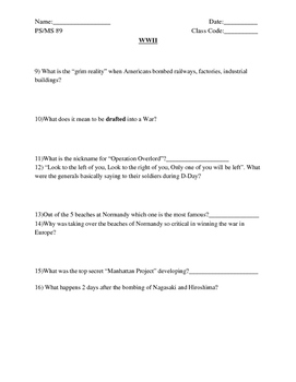 """America Story of US. Part 10: """"World War II"""" Guided Questions"""