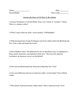 """America Story of US. Part 2: """"Revolution"""" Guided Questions"""