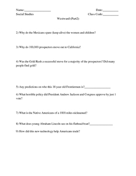 """America Story of US. Part 3: """"Westward"""" Guided Questions"""