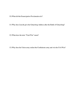 """America Story of US. Part 5: """"Civil War"""" Guided Questions"""