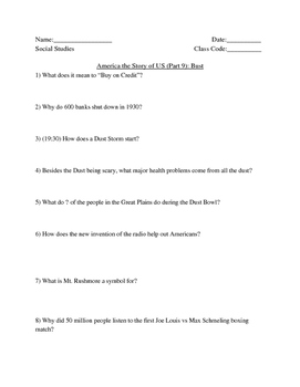 """America Story of US. Part 9: """"Bust"""" Guided Questions"""