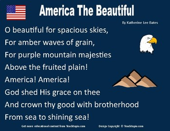America The Beautiful Poster.  Include America the Beautful Lyrics
