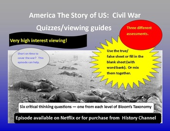 America The Story of US:  Civil War  (two separate quizzes