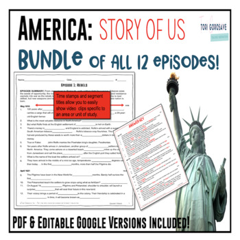 America The Story Of Us Episodes 1 12 Bundle Tpt