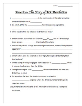 """America The Story of US """"Revolution"""" Episode Video Guide and Questionnaire"""
