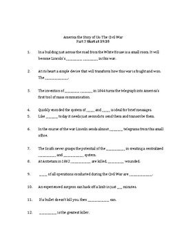 America The Story of US: The Civil War Worksheet part 3
