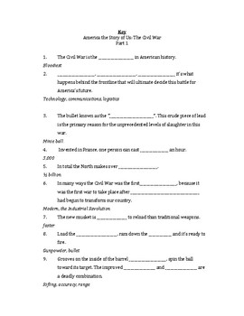America The Story Of Us The Civil War Worksheet Key By Kurt Ruffley