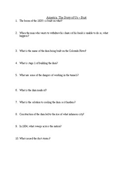 America: The Story of Us - Bust Video Worksheet