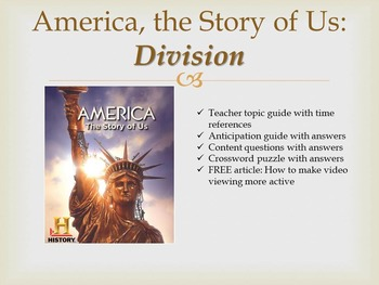"America, The Story of Us Episode 4 ""Division"" Worksheets and Activities"