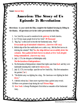 America: The Story of Us Viewing Guide--Episode 2 Revolution (NO PREP)