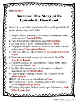 America: The Story of Us Viewing Guide--Episode 6 Heartland (NO PREP)