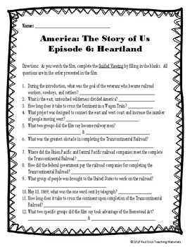 America: The Story of Us Viewing Guide--Episode 7 Cities (NO PREP)