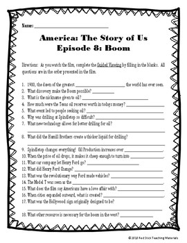 America: The Story of Us Viewing Guide--Episode 8 Boom (NO PREP)