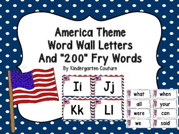 America Theme Word Wall Letters and 200 Fry Words