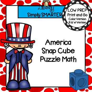 America Themed Snap Cube Fine Motor Math Activity Task Cards