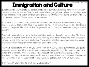 America and Immigration Leveled Passages