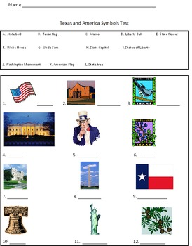 America and Texas Symbols test {large pictures of each included}