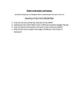 America and the First World War: Writing Topics and Essay Questions