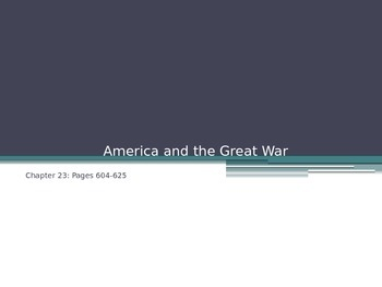 America and the Great War PowerPoint Presentation