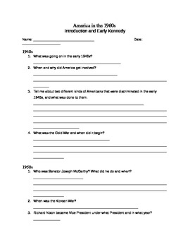 America in the 1960s- Introduction Questions Packet