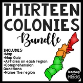 America's Thirteen 13 Colonies Reading Comprehension Bundl