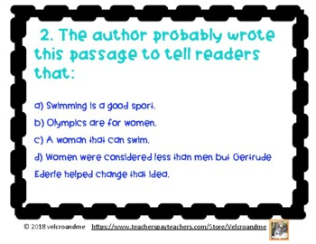 America's Champion Swimmer Gertrude Ederle Comprehension Questions