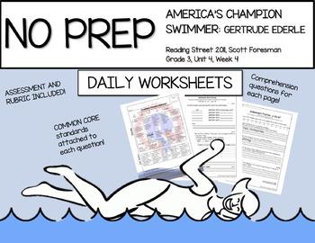 America's Champion Swimmer: Gertrude Ederle Daily Comprehension Worksheets