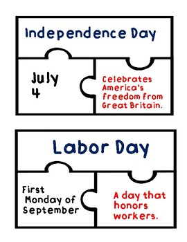 America's Holidays, Symbols, and Landmarks Puzzles