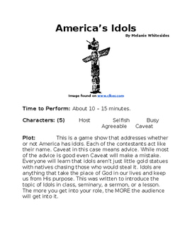 America's Idols - Small Group Religious Reader's Theater