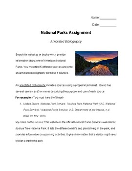 America's National Parks - Annotated Bibliography