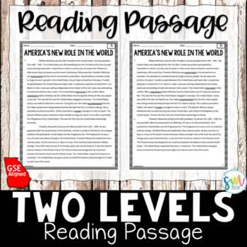 America's New Role with McKinley & Roosevelt Reading & Writing Activity (SS5H1c)