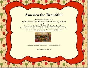 America the Beautiful Flip Book and Social Studies Textbook Scavenger Hunt