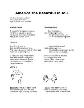 America the Beautiful in ASL