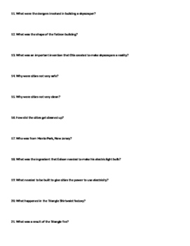 America the Story of US - Cities episode worksheet